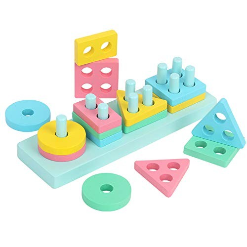 MIEO Baby Toys Educational Colorful Wooden Geometric Sorting Board Montessori Kids Stack Building Puzzle Child Gift