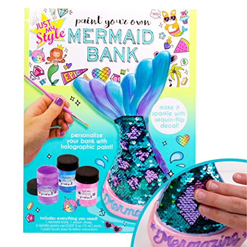 Just My Style Paint Your Own Mermaid Bank by Horizon Group USA & Decorate Coin with Color Changing Sequin Decal Metallic Holographic Paints