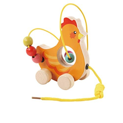 NUOBESTY Wooden String Beads Game Building Block Toy Montessori Toys Early Educational Animal Orange Rooster Style