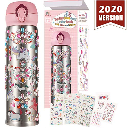 YOFUN Decorate Your Own Water Bottle with 11 Sheets of Unicorn Stickers & Glitter Gems Craft Kit Art for Children Gift Girls Age BPA Free Insulated Mug