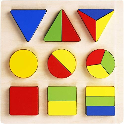 TOHIBEE Wooden Educational Preschool Shape Color Puzzle Geometric Recognition Board Blocks Stacking Sort Kids Children Baby Toddler Toys for Year Old Boys Girls