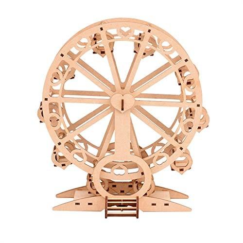 NUWFOR Ferris Wheel 3D Wooden Puzzle Self-Assembly Kids Building Blocks DIY Toys Jigsaw Woodcraft Birthday Children's Day Gifts Khaki-B
