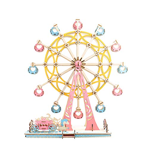 HSada 3D Puzzle Assemble Toy DIY Model Craft Kit – 295 Pieces Ferris Wheel Jigsaw Best Educational Birthday Day Gift for Friends Son Adults Ferris Wheel