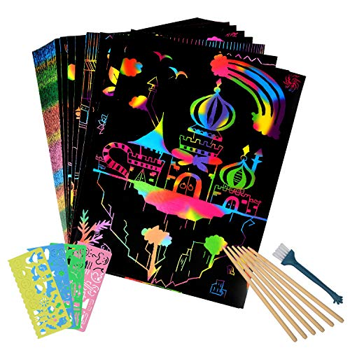 Eclawen Scratch Art Paper 50 Pcs Rainbow Magic Off Set Arts Crafts Supplies Kits Pads Sheets Boards DIY Fun Toy with 5 Wooden Stylus for Party Game Christmas Birthday Gift