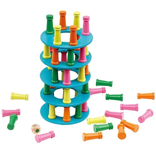 Wooden Stacking Tower Balancing Building Blocks Kids Stackable Toys Educational for Home School Gift
