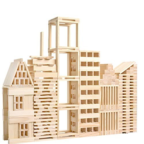 100 Pcs Kids Toddlers Building Blocks Wooden Toys Set Suitable for Boys & Girls Above 3 Years Old Beige