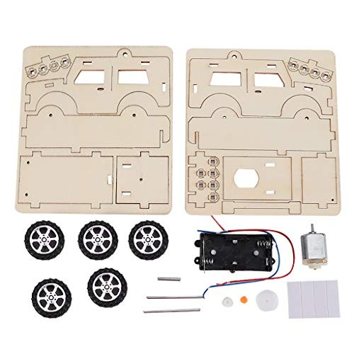Ywoow Creative Wooden Jeep Electric DIY Plug Toy Kids Car Kit Experiment Education Kid Puzzle Model