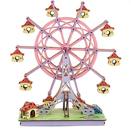 Ywoow DIY Building Blocks Children Adults Parent-Child Interactive Toys Customized 3D Ferris Wheel Wooden Three-Dimensional Puzzle Processing Manual