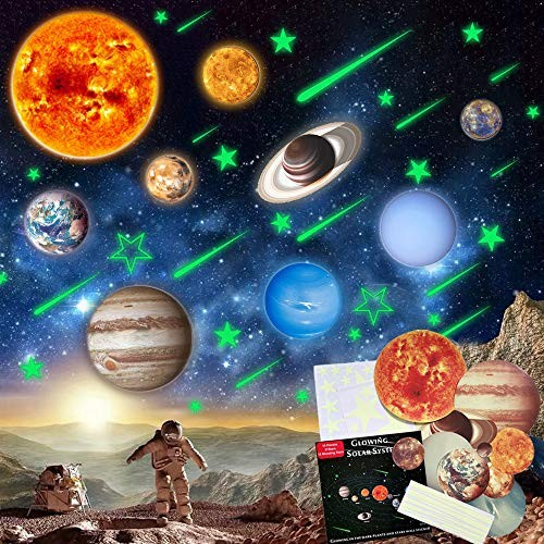 STEM Educational Toys for 3-12 Year Old Stickers Wall Decor Decals Solar System Kids Glow in The Dark Stars Ceiling Gifts