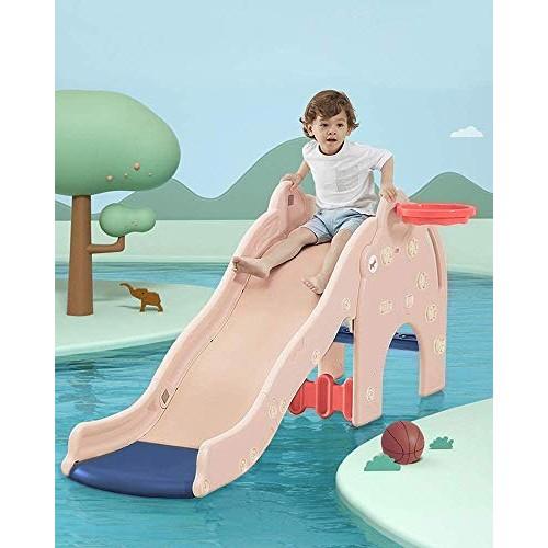 Pantrasamia Kids Slide Large Sturdy Toddler Playground Slipping Slide Playset w/Basketball Hoop for Children