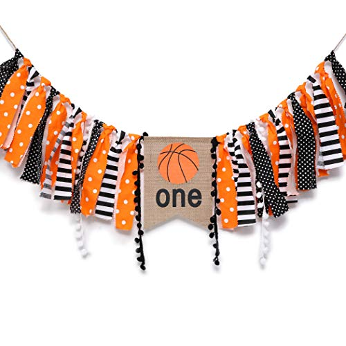 WAOUH Basketball Banner for 1st Birthday – Highchair First Theme Decoration Cake Smash Photo Prop Fabric Rag Garland