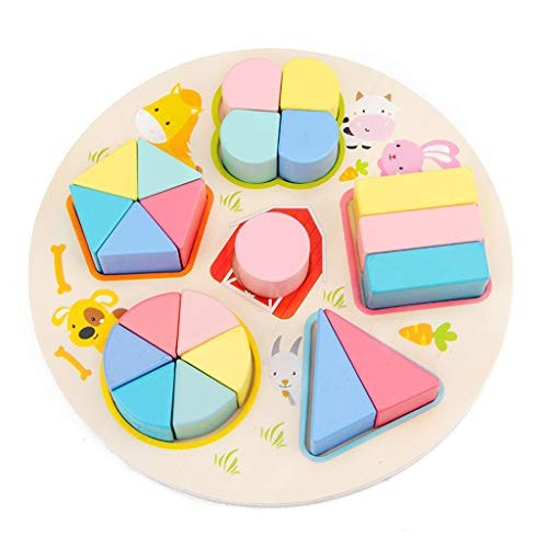 Wenini Wooden Rainbow Color Toy Puzzle Blocks Educational Learning Toys Creative Colorful Building Blocks Wooden Geometric Bisect Study Board for Kids