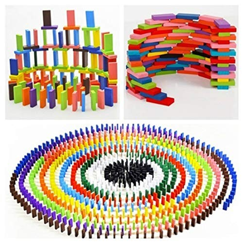 120pcs lot Domino Building Blocks Wooden Toys Early Intelligence Education Rainbow Colored Standard