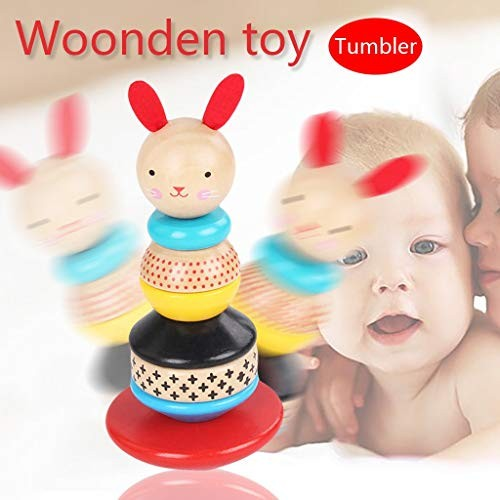 xisheep Education Toys Wooden Rabbit Tumbler Rainbow Building Stacking Blocks Kids Puzzle Toy Gifts for Home & Pastime