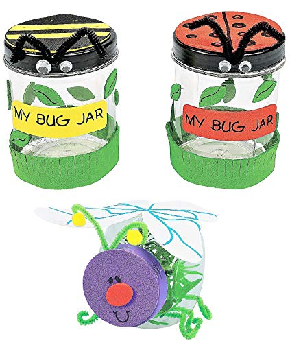 Summer Spring Bug Jar Craft Kits Set – Ladybug Bee & Lightning Plastic Jars Children's Activities for Classroom Kid's Supplies Sunday School Homeschooling Scrapbooking 2020 DIY Dcor