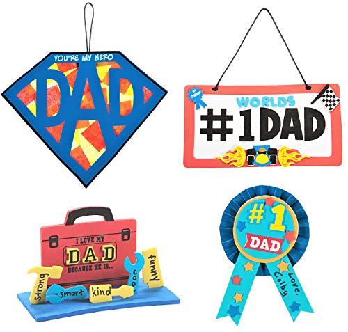 Father's Day Craft Kits Set – Superman Dad Sign 3D Toolbox Award Ribbon & More Children's Activities for Classroom Kid's Sunday School Homeschooling Supplies Scrapbooking DIY Refrigerator Decor