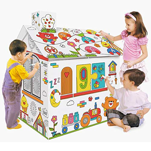 Diy Doodle Painting Toy Paper House Cardboard Coloring Kids Playhouse Drawing Graffiti with Music Light 15 in Tall Project Assemble and Paint Educational Toys for Children