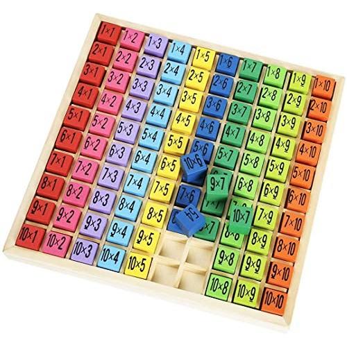 Miarui Wooden Math & Multiplication Table Board Game Kids Preschool Learning Toys Gift – 100 Cubes Building Blocks