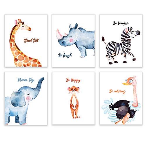 Safari Animals Nursery Decor by KIU Designs – Set of 6 8×10 Inch Baby Room Playroom Wall Art Jungle
