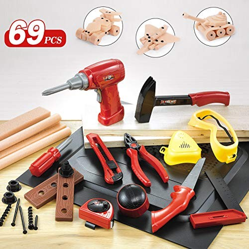 Nextx 69pcs Kids Tool Set Toolbox Fix It Learning Kit with Electric Drill Foam Wood Young Builder Pretend Play Construction Building Toys