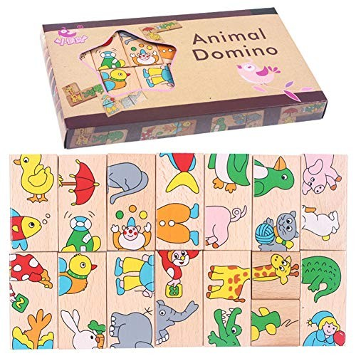 Alician 15pcs Set Child Animal Domino Building Blocks Wooden Toys Infant Educational Toy Birthday Gifts