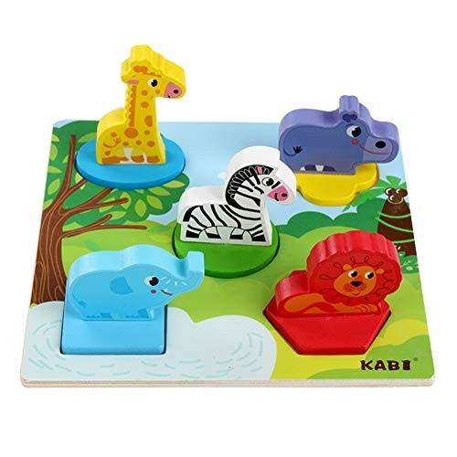 Alician 3D Hand Grip Puzzles Building Blocks Wooden Toy Kindergarten Early Education Black Toys