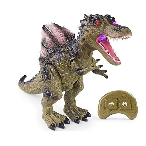 Remote Control Dinosaur for Kids Early Childhood Education Toy RC Toys Smoke Effect Glowing Eyes and Mouth Swinging Head