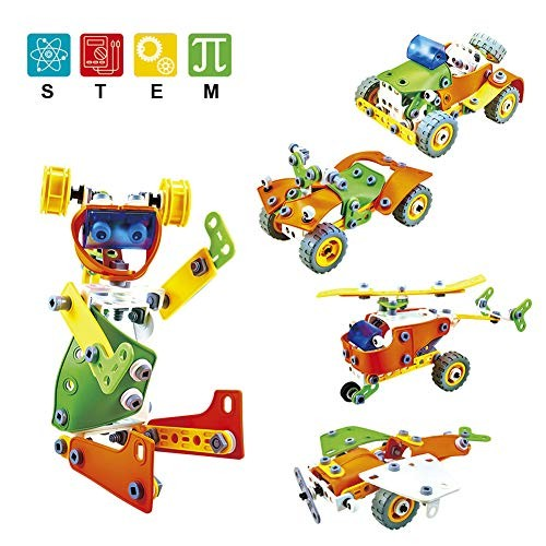 HahaGo 163pcs STEM Toys Kit Building Blocks Toy-Motorized Educational Learning Construction Engineering DIY Robot Kits Set Birthday Gift Present for Age 6+ Years Old Children Kids 5 IN 1