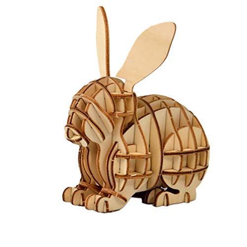 NUOBESTY 3D Wooden Assembly Puzzle DIY Rabbit Toy Bunny Animal Model Brain Teaser Puzzles Wood Craft Kit Desktop Decorations Educational Toys Kids Gift