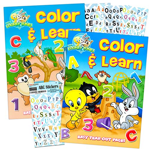LOONEY TUNES Preschool Workbooks for Toddlers Kids Set 2-4 Years ~ 2 Pack Coloring Book Preschoolers with Bonus ABC Stickers Alphabet Counting Colors Shapes and More