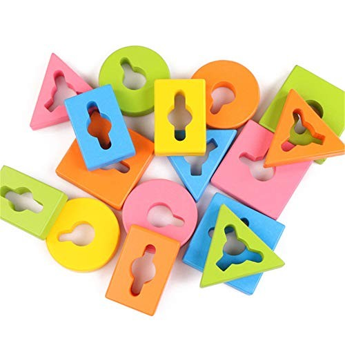 Teerwere Blocks Toys Children's Building Wooden Geometric Stacker Shape Sorter Column Puzzle Block Set Cube