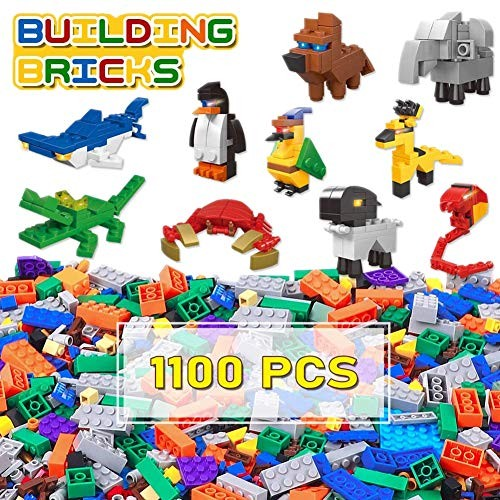 Lucky Doug Building Bricks 1100 Pieces Set Classic Blocks with 10 Animal Block Kit in 16 Colors 26 Sharpes Compatible All Major Brands for Kids Ages 6+