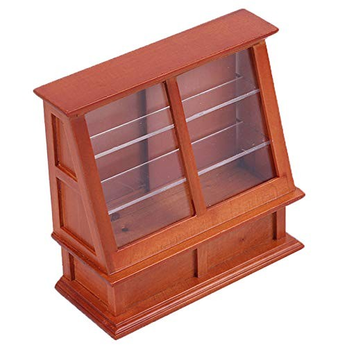 1/12 Dollhouse Mini Cake Cabinet with Sliding Door Model Toy Wooden Display Bakery Cake