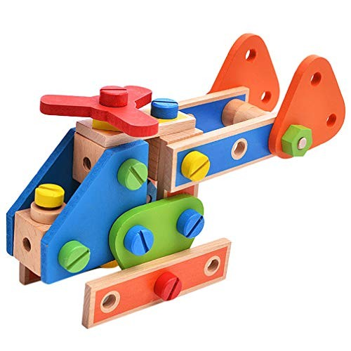 Wooden Building Blocks Construction Toys Colorful Stacking Early Puzzle Educational for Kids Children Toddlers Birthday Gift 70pcs