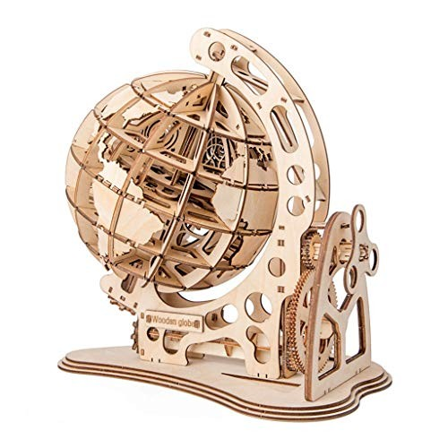 jiayousisi Jigsaw Puzzle – 3D Wooden Globe for Kid Child Mechanical Drive Model Transmission Gear Rotate Toys