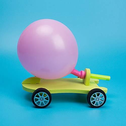 N2 jikaixiang DIY Balloon Power Car Force Kit Technology Experiment Educational Kid Toy Cartoon Animal Art Craft Random Color