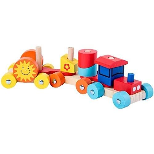 Aoyo Wooden Colorful Train Toy Detachable Building Block Blocks Educational