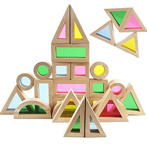 24pcs Set Rainbow Wooden Acrylic Building Blocks Baby Educational Toy Kids Birthday Gift