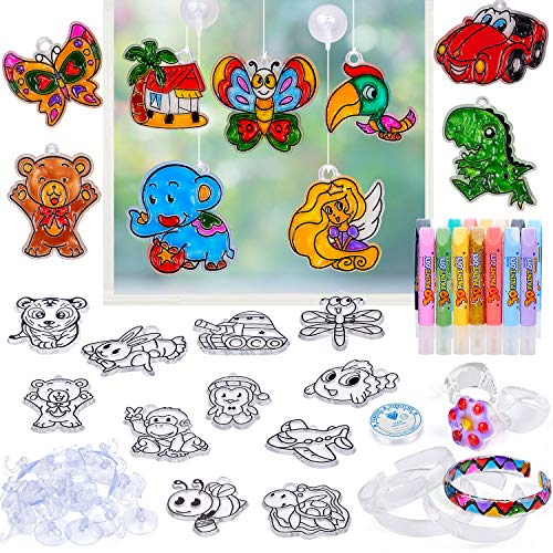Kids Crafts and Arts Supplies Kit Window Paint Art Stickers Your Own Sun Catchers DIY Toys Indoor Activity Birthday Gift for Age 5 6 7 8 Years Old