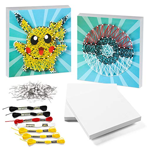 ANGOLIO Pikachu String Art Craft Kits Handmade DIY Decorations Handicraft Works for Kids and Adults 2 Large Eva Canvases – Poke Ball