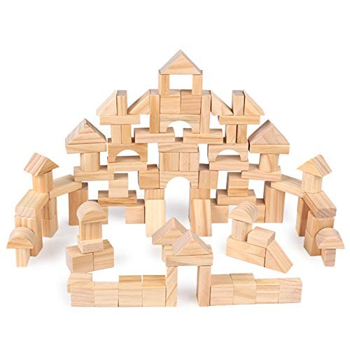 B&H-ERx Classic Wooden Building Blocks Sets 100 Pcs Natural for DIY Educational Toy Toddlers Preschool Learning Toys with Carrying Bag 7+