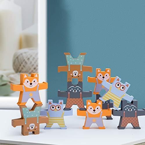 ExhilaraZ Hot New Toys 12Pcs Set Bear Shape Wooden Building Stacking Block Balance Kids Development Toy