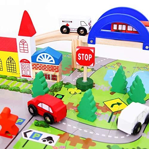 ExhilaraZ Hot New Toys 40Pcs Set Wooden City Traffic Track DIY Building Blocks Kids Educational Toy