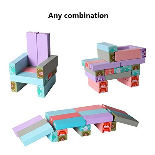 AUEDC Wooden Colorful Toppling Tower Building Blocks Stacking Game with Storage Bag Balancing Puzzles Toys Learning Educational Sorting Family Games