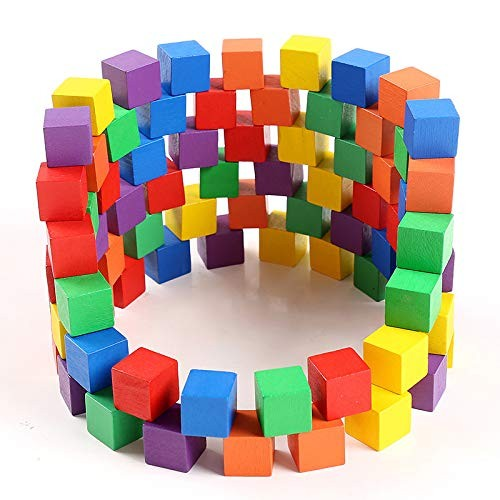 xIANGEN Wooden Toys Suits Stacking Blocks Early Education Puzzle Square 100 Pieces of Exercise Children Interaction