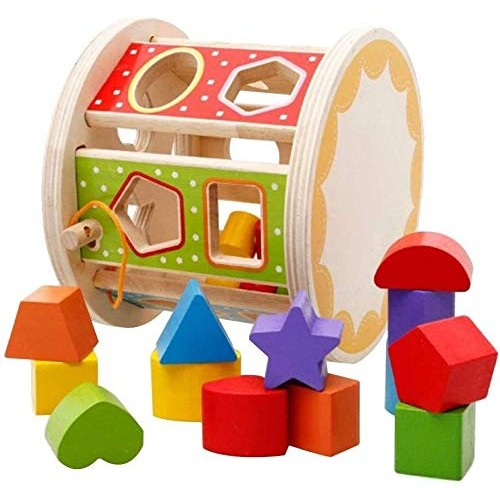 Aoyo Wooden Shape Matching Box Chopping Block Colorful Building Blocks Baby Educational Toy