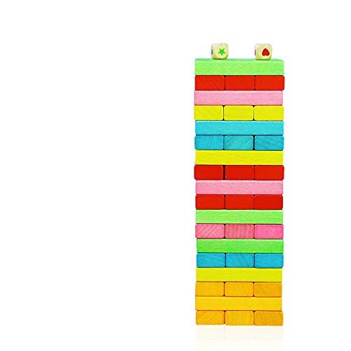 xIANGEN Wooden Toys Dump Tower Building Blocks with Numbers Learning and Educational Family Games 48-54 Balanced Jigsaw