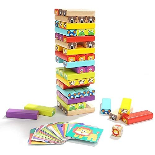 Early Educational Wooden Stacking Tower Game with 51 Building Blocks Stack Toy Boys and Girls Gifts