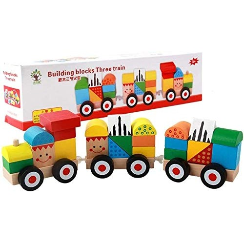 Wooden Three Building Blocks Train Toy Educational Colorful Learning Toys-