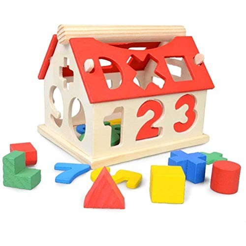 Aoyo Wooden Kids House Building Block Toy Educational Learning Numbers Multicolor Blocks Toy- Colorful